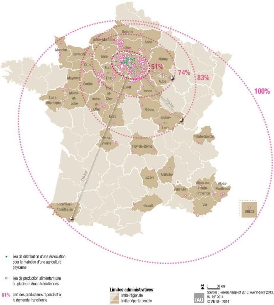 Carte de l'origine des produits des AMAP d'Ile de France (IAU IDF 2014).
