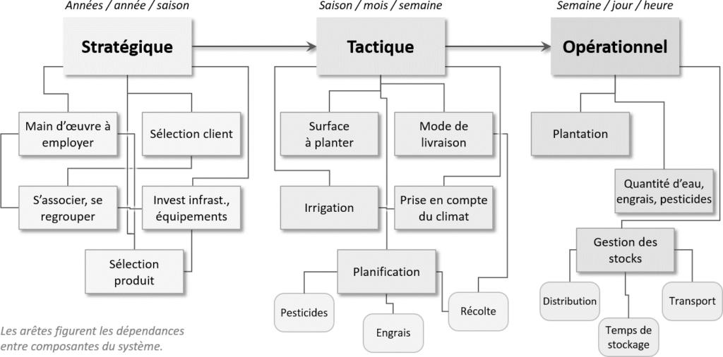 Niveaux de décisions en agriculture, adapté, NBrulard d'après Jang et Klein (2011)